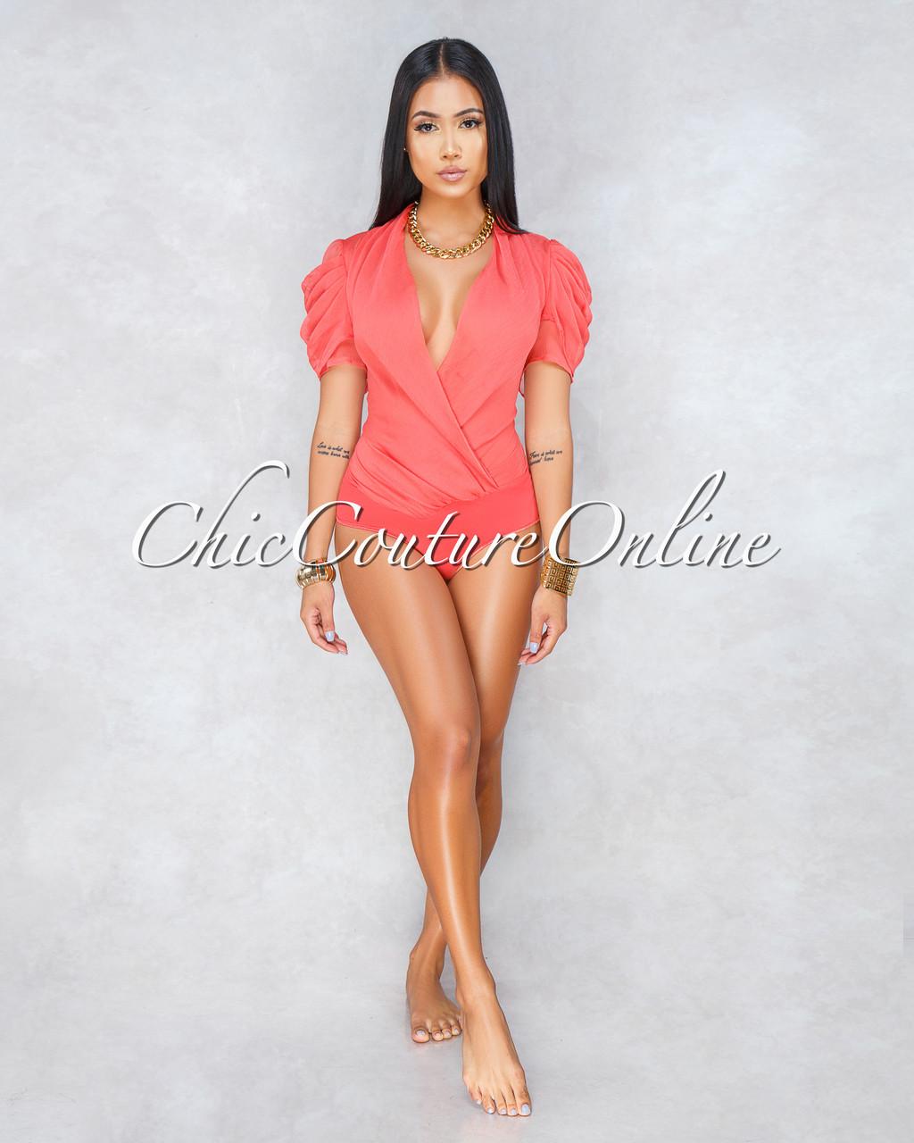 Socialite Coral Chiffon Draped Sleeves Bodysuit e0f9b4bfa61