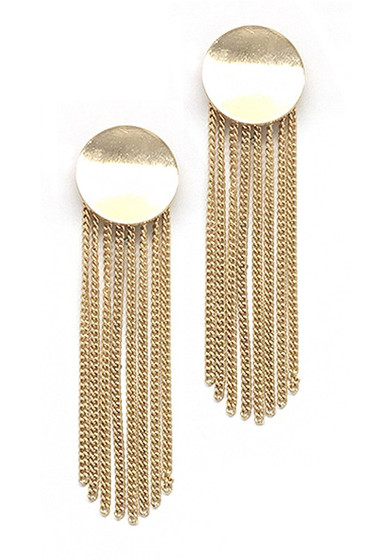 Maryam Golden Fringe Statement Drop Dangle Earrings