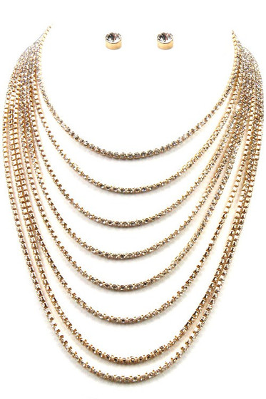 Lorra Golden Crystal Pavé 8 Strand Necklace