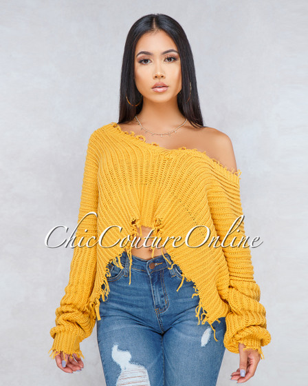 Delsy Mustard Yellow Oversized Knit Sweater