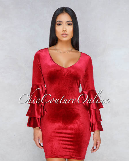 Silvia Burgundy Velvet Ruffle Sleeves Dress