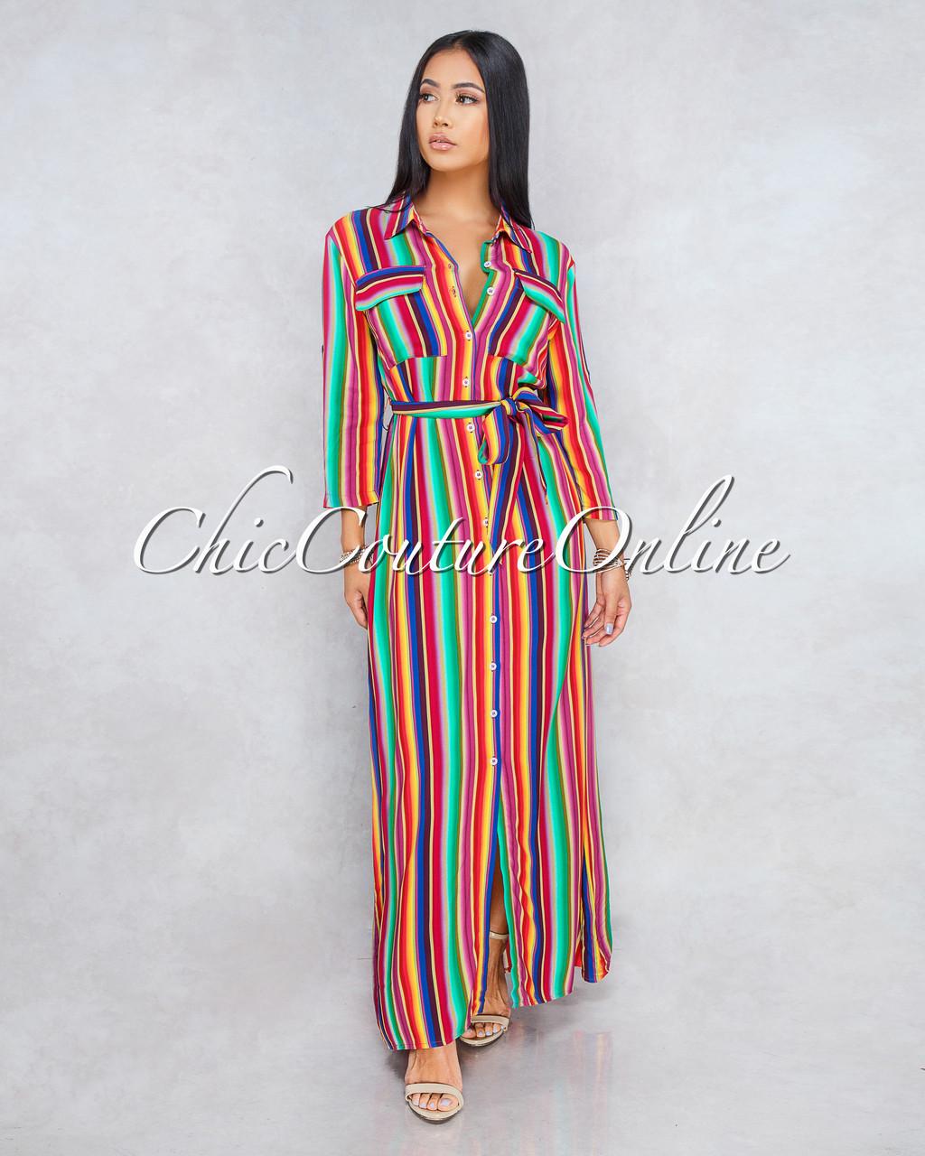 a04fc854d86d ... Stripes Shirt Maxi Dress. Price: $65.00. Image 1