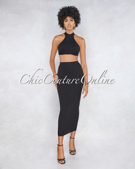 Diveana Black Ribbed Maxi Skirt Two Piece Set