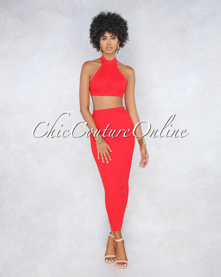 Diveana Red Ribbed Maxi Skirt Two Piece Set