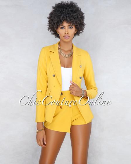 Raya Mustard Yellow Blazer Skort Two Piece Set
