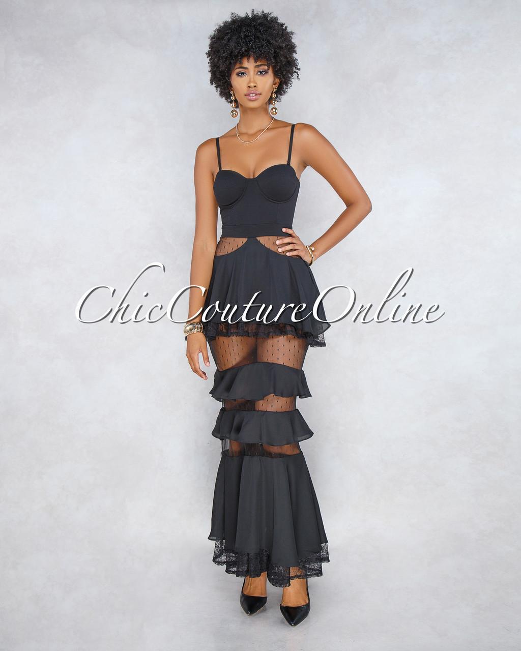 89b50fbd343 Labelle Black Lace Overlay Ruffle Maxi Dress