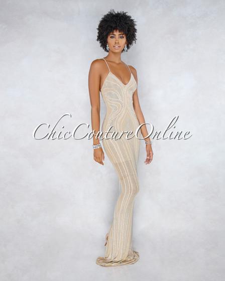 Drizella Nude Iridescent Rhinestone Maxi Dress