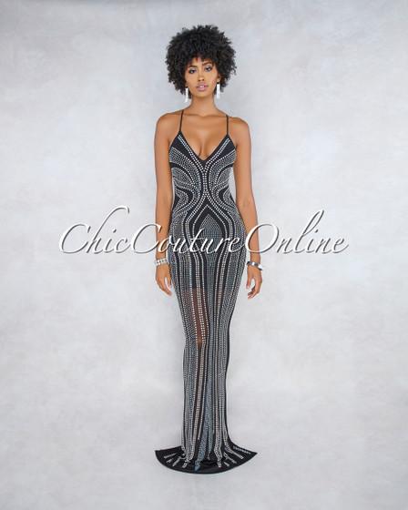 Drizella Black Iridescent Rhinestone Maxi Dress