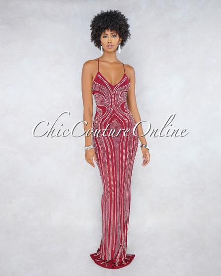 Drizella Burgundy Iridescent Rhinestone Maxi Dress