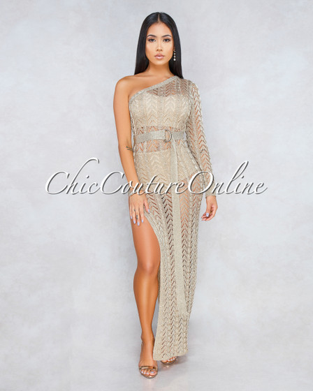 Missouri Golden Knit See Trough Single Sleeve Maxi Dress With Belt