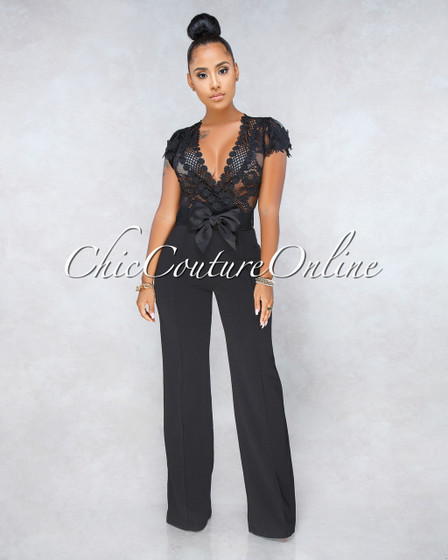 Florencia Black Lace Sheer Top Bow Belt Jumpsuit