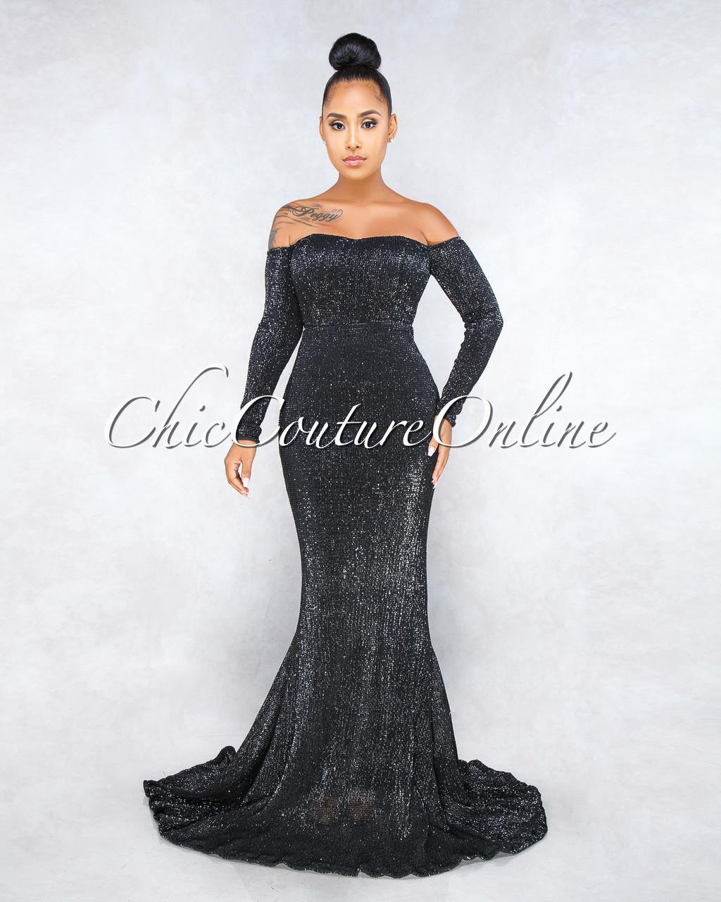 Becka Black Sequins Strapless Mermaid Gown