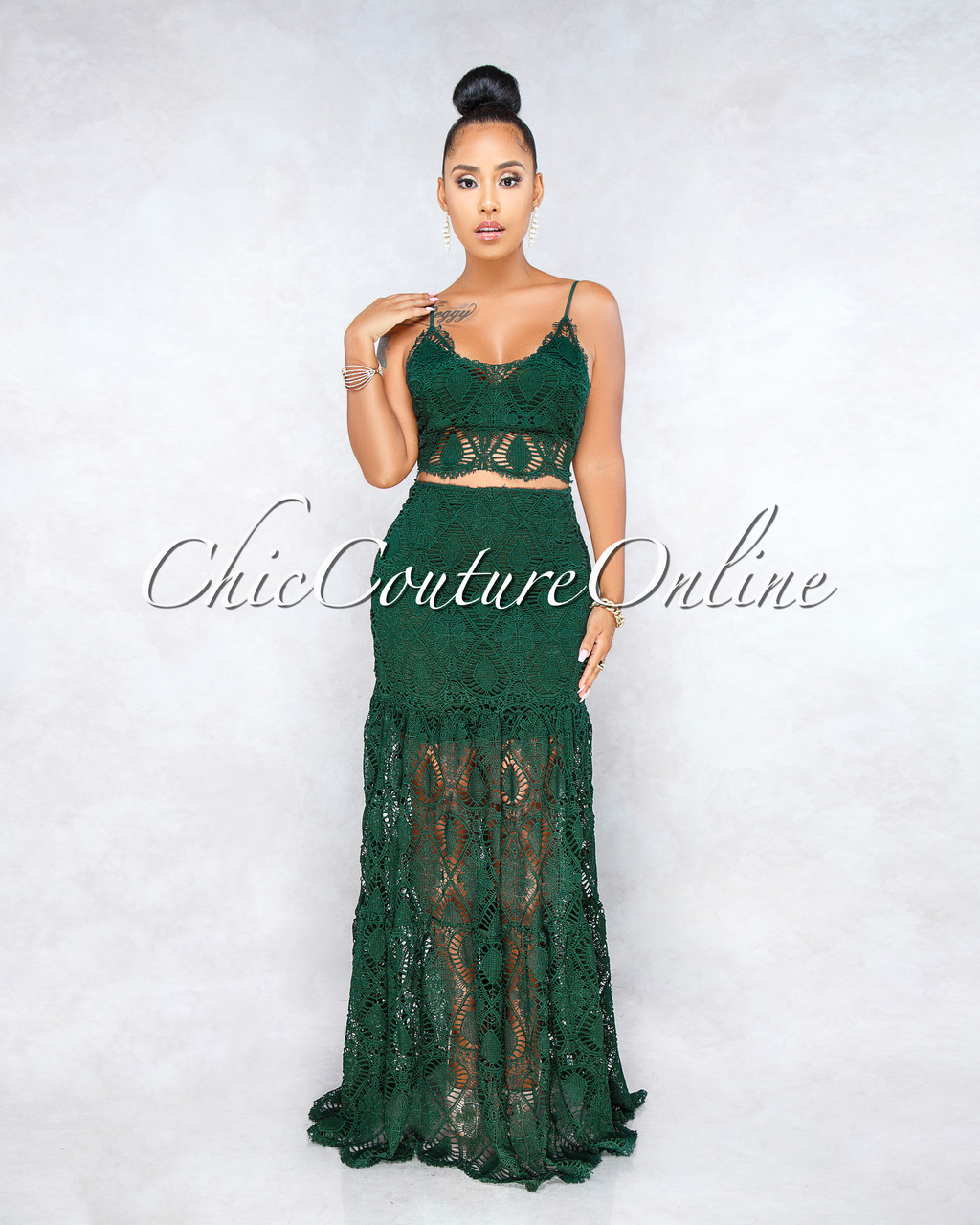 44b64ff2a03b Aidan Hunter Green Crochet Two Piece Maxi Skirt Set