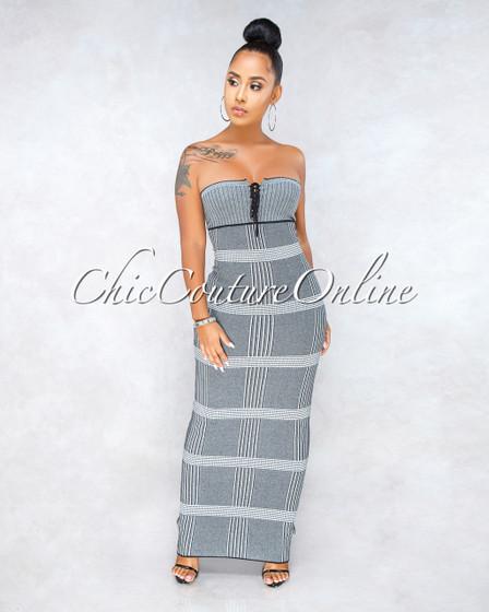 Philory Grey Plaid Knit Strapless Maxi Dress