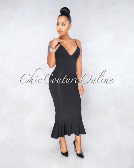 Endira Black Flutter Bottom Midi Dress