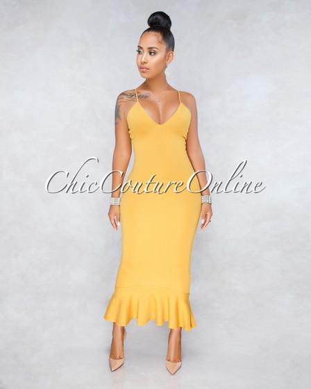 Endira Mustard Yellow Flutter Bottom Midi Dress