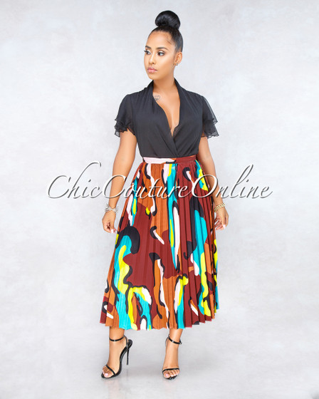 Audrina Wine Red Multi-Color Print Pleated Midi Skirt