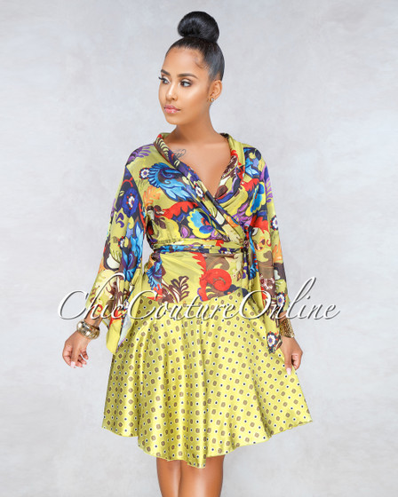 Gianna Green Multi-Color Print Wrap Satin Dress