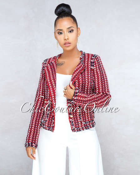 Aminia Red Navy Multi-Color Tweed Jacket