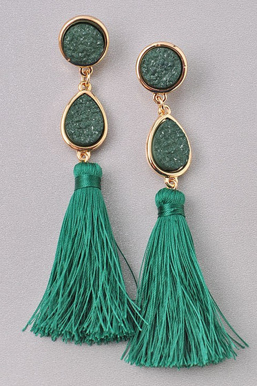 Xenia Emerald Green Drusy Stones  & Long Tassel Earrings