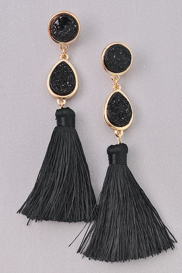 Xenia Black Drusy Stones  & Long Tassel Earrings