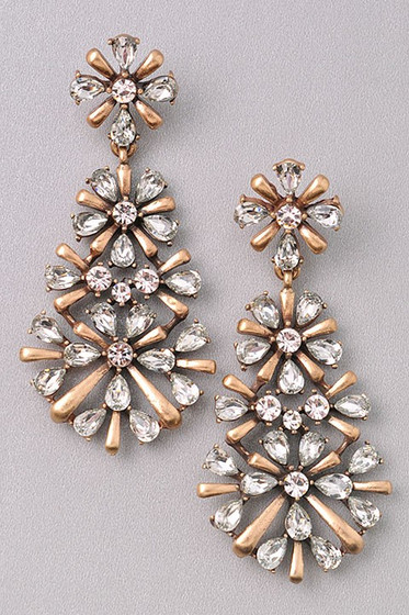 Jenna Golden Clear Stones Floral Statement Earrings