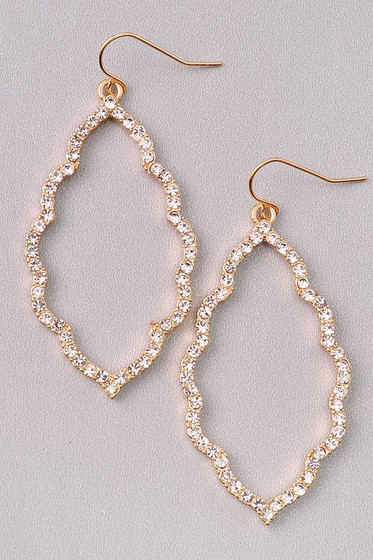 Vanessa Golden Pavé Crystal Stones Dangle Earrings