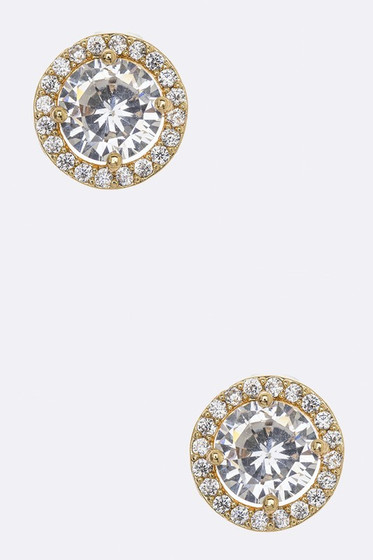 Cici Golden Round Pavé Halo Crystal Studs Earrings