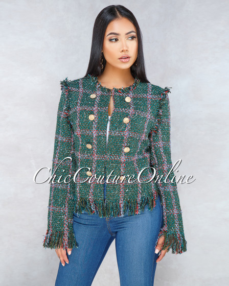 Shayra Green Red Gold Buttons Tweed Jacket