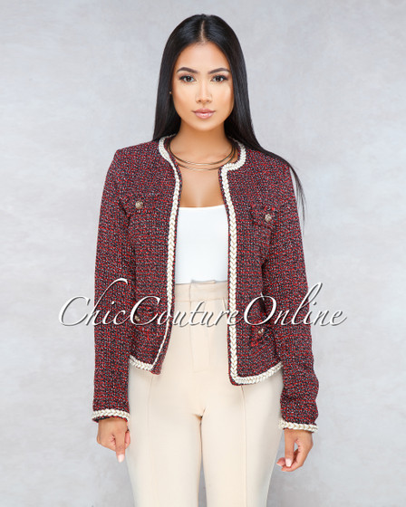 Persa Red Black Braid Accent Tweed Jacket