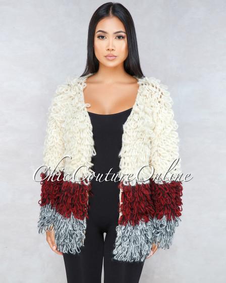 Yeti Ivory Block Color Crochet Fury Jacket