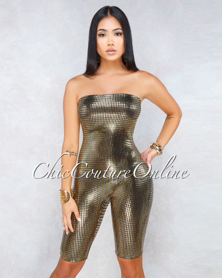 Kloe Black Gold Sequins Strapless Romper