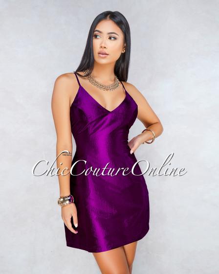 Berry Magenta Silky Pockets Mini Dress