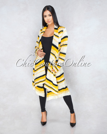 Monagas Ivory Yellow Stripes Knit Jacket