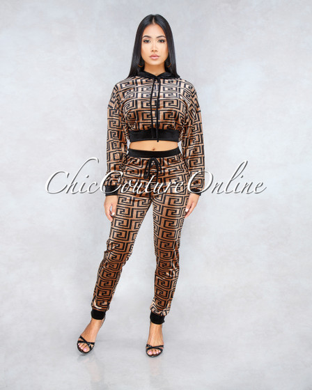 Manuela Black Brown Fret Print Two Piece Velvet Set