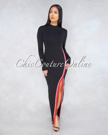 Hunter Black Red White Trim Side Snap Knit Dress