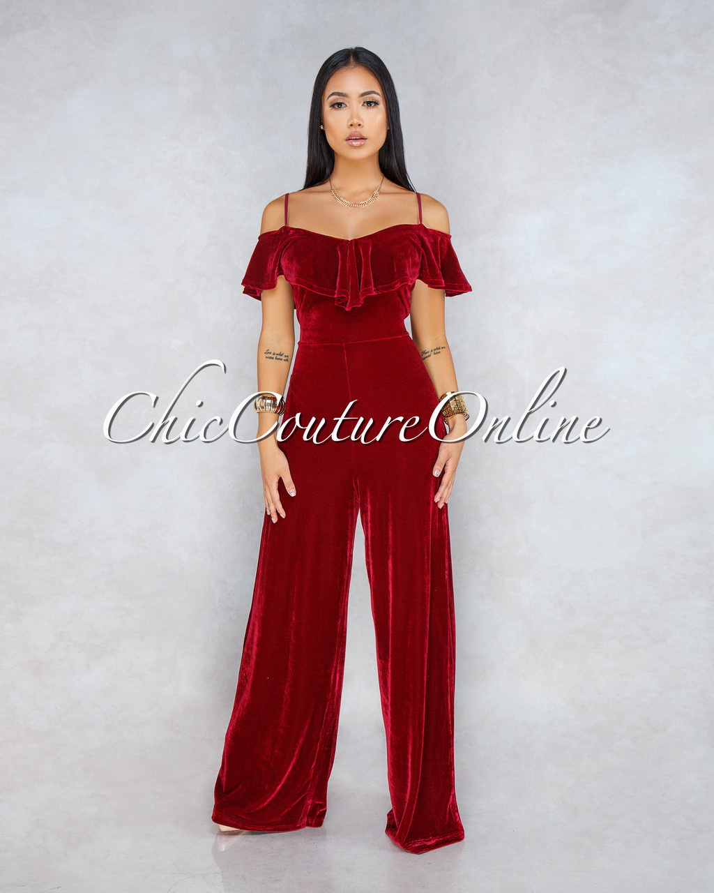 48a85f03db2e Kayla Burgundy Velvet Cold Shoulder Ruffle Jumpsuit. Price   60.00. Image  1. Larger   More Photos