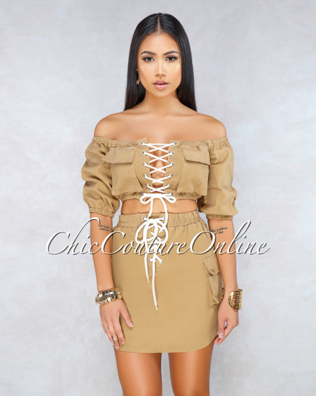 Tatiana Camel White Lace-Up Detail Cargo Two Piece Set