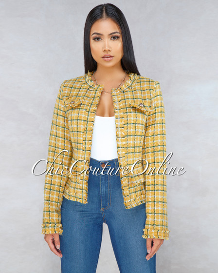 Darcy Mustard Yellow Gold Buttons Tweed Jacket