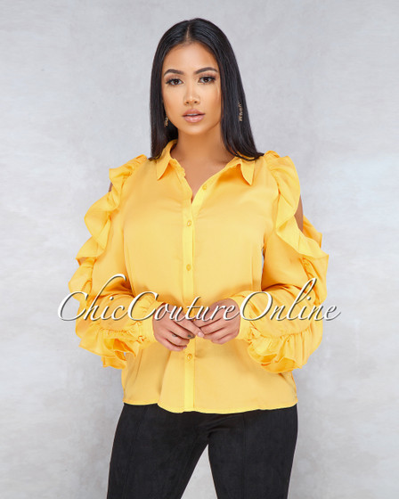 Hibiscus Yellow Cold Shoulder Ruffle Sleeves Top