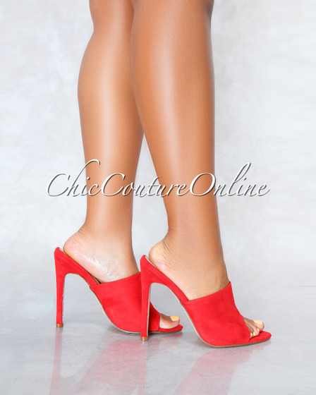 Lustre Red Faux Suede Pointed Toe Heels