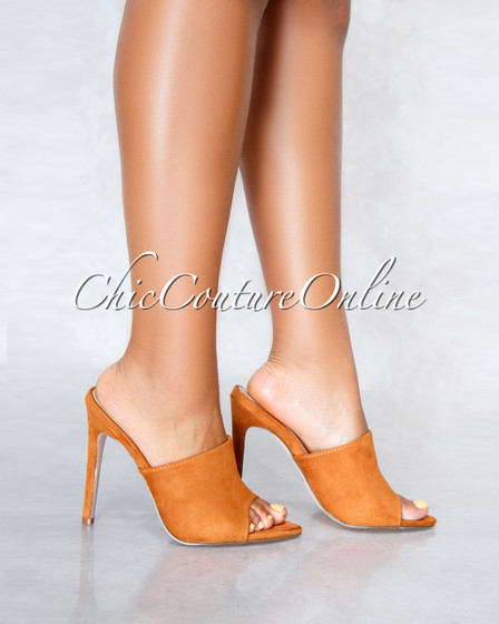 Lustre Tan Faux Suede Pointed Toe Heels
