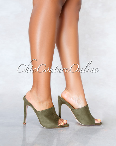 Lustre Olive Faux Suede Pointed Toe Heels