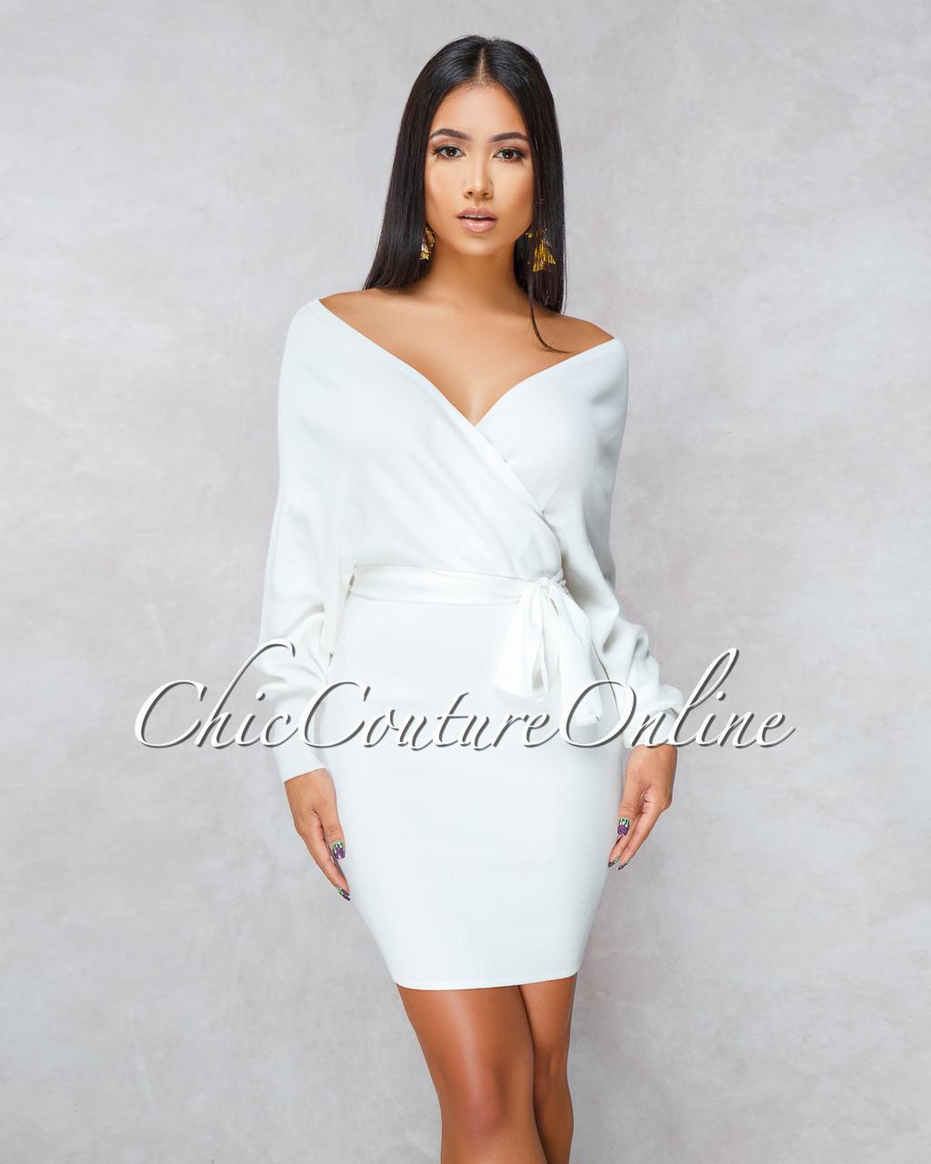 f4e6ade9d94 Marlyze Off-White Wrap Knit Sweater Dress