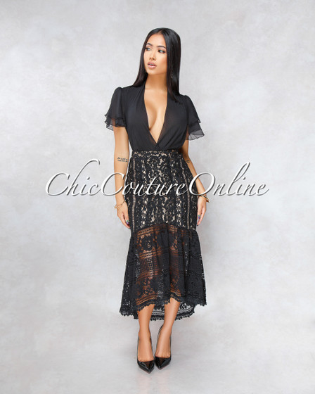 Unforgettable Black Nude Illusion Crochet High-Low Skirt