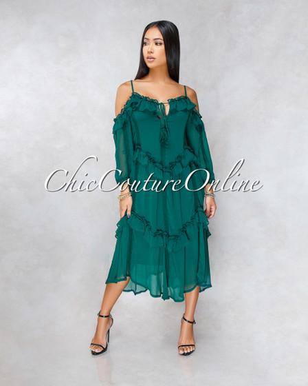 Fairytale Hunter Green Luxe Shift Ruffle Midi Dress