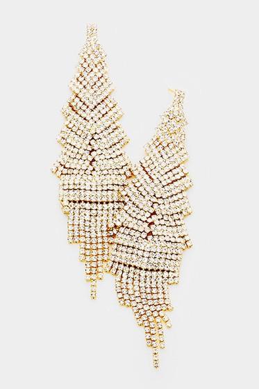Mikka Crystal Pavé Fringe Dangle Earrings