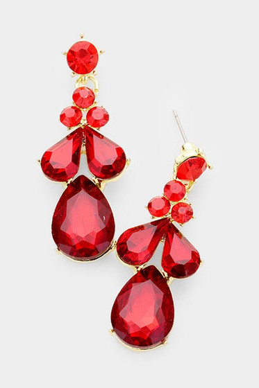 Canon Red Rhinestones Dangle Earrings