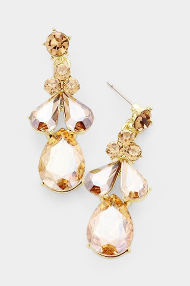 Canon Citrine Rhinestones Dangle Earrings