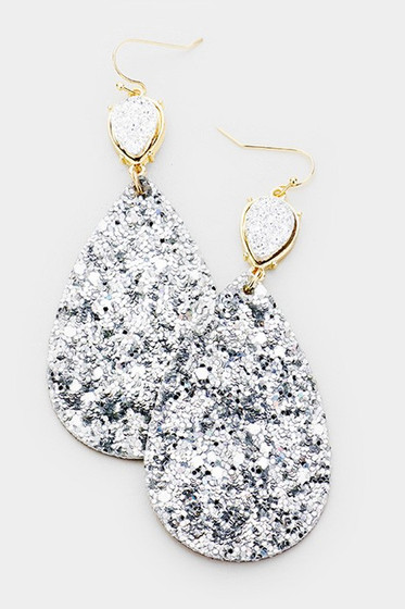 Marlyn Gold Hematite Druzy Teardrop Earrings